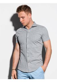 Ombre Clothing - Koszula męska z krótkim rękawem K541 - szara - XXL. Typ kołnierza: kołnierzyk klasyczny. Kolor: szary. Materiał: dzianina, bawełna. Długość rękawa: krótki rękaw. Długość: krótkie. Sezon: lato. Styl: klasyczny