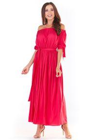 Różowa sukienka wizytowa Awama maxi #1