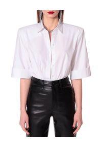 AGGI - Biała koszula oversize Demi. Typ kołnierza: kołnierzyk klasyczny. Kolor: biały. Materiał: bawełna. Styl: klasyczny, elegancki
