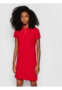 Czerwona sukienka dzianinowa Marc O'Polo polo, na co dzień