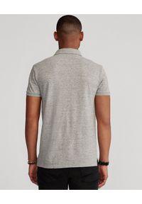 Ralph Lauren - RALPH LAUREN - Szara koszulka Polo Slim Fit. Okazja: na co dzień. Typ kołnierza: polo. Kolor: szary. Materiał: bawełna. Wzór: melanż, haft, aplikacja. Styl: sportowy, klasyczny, casual