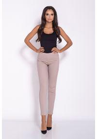 Beżowe spodnie z wysokim stanem Dursi eleganckie
