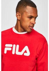 Czerwona bluza nierozpinana Fila z nadrukiem, z okrągłym kołnierzem
