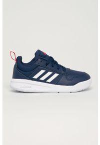 Niebieskie buty sportowe Adidas na sznurówki, z cholewką, z okrągłym noskiem