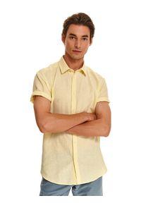TOP SECRET - Koszula z lnem o kroju slim. Kolor: żółty. Materiał: len. Długość rękawa: krótki rękaw. Długość: krótkie. Sezon: lato, wiosna #6