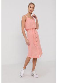 Rip Curl - Sukienka. Okazja: na co dzień. Kolor: pomarańczowy. Materiał: tkanina. Długość rękawa: na ramiączkach. Typ sukienki: proste. Styl: casual