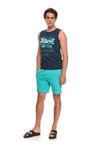 TOP SECRET - T-shirt bez rękawów. Kolor: niebieski. Materiał: bawełna, tkanina. Długość rękawa: bez rękawów. Wzór: nadruk. Sezon: lato. Styl: wakacyjny
