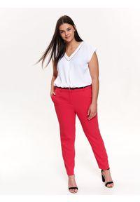 Różowe spodnie TOP SECRET eleganckie, w kolorowe wzory, na zimę