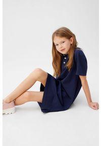 Niebieska sukienka Mango Kids na co dzień, prosta, z krótkim rękawem, casualowa