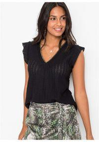 Czarna bluzka bonprix w ażurowe wzory