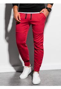 Czerwone spodnie Ombre Clothing z nadrukiem