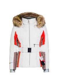 Biała kurtka narciarska Poivre Blanc z aplikacjami, z podwójnym kołnierzykiem