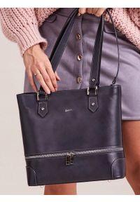Szara torebka ROVICKY na ramię, skórzana, elegancka