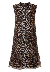 Sukienka off-shoulder bonprix czarno-biel wełny - piaskowy leo. Kolor: czarny. Materiał: wełna. Styl: elegancki