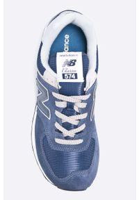 Niebieskie sneakersy New Balance na sznurówki, New Balance 574, z cholewką, z okrągłym noskiem