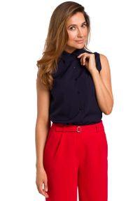 MOE - Granatowa Koszulowa Bluzka bez Rękawów. Kolor: niebieski. Materiał: elastan, poliester. Długość rękawa: bez rękawów