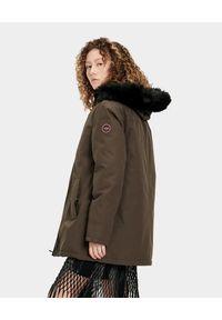 Ugg - UGG - Brązowa parka Bernice. Kolor: brązowy. Materiał: jeans, syntetyk, futro, materiał. Sezon: jesień, zima