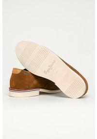 Pepe Jeans - Półbuty skórzane Dave. Nosek buta: okrągły. Zapięcie: sznurówki. Kolor: brązowy. Materiał: skóra