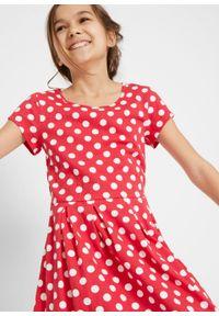 Sukienka dziewczęca shirtowa w groszki bonprix czerwono-biały w groszki. Kolor: czerwony. Wzór: grochy #3