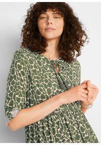 Sukienka koszulowa LENZING™ ECOVERO™ bonprix beżowo-szaro-ciemny khaki w cętki leoparda. Kolor: szary. Materiał: wiskoza. Wzór: nadruk. Typ sukienki: koszulowe #3