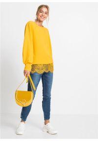 Shirt z szerokimi rękawami, w strukturalny wzór bonprix Shirt dł.ręk żół.szafr. Kolor: żółty