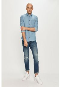 Niebieska koszula PRODUKT by Jack & Jones casualowa, gładkie, z długim rękawem, z klasycznym kołnierzykiem