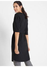 Sukienka bawełniana oversize, krótki rękaw bonprix czarny. Kolor: czarny. Materiał: bawełna. Długość rękawa: krótki rękaw. Typ sukienki: oversize