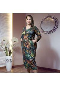 Sukienka dla puszystych Moda Size Plus Iwanek z kołnierzem typu carmen, midi, na spacer, na jesień