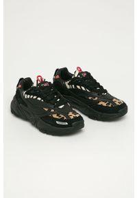 Czarne buty sportowe Fila na obcasie, z okrągłym noskiem, na średnim obcasie, na sznurówki