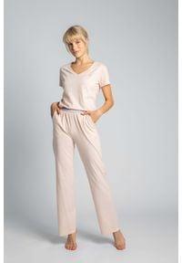 MOE - Długie Bawełniane Spodnie do Spania - Brzoskwiniowe. Kolor: pomarańczowy. Materiał: bawełna. Długość: długie