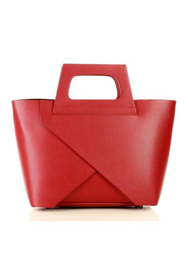 GENUINE LEATHER - MARCO MAZZINI Oryginalna torebka do ręki shopper basket czerwień malinowa. Kolor: wielokolorowy, czerwony, różowy. Rodzaj torebki: do ręki