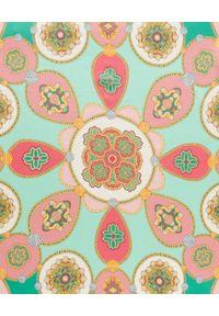 Luisa Spagnoli - LUISA SPAGNOLI - Jedwabna apaszka Rigore z wzorem vintage. Kolor: zielony. Materiał: jedwab. Wzór: aplikacja. Styl: vintage