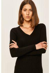 Czarny sweter Brave Soul długi, z długim rękawem, na co dzień, z okrągłym kołnierzem