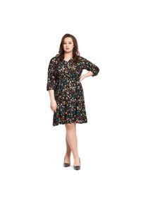 Sukienka dla puszystych Moda Size Plus Iwanek na co dzień, na wiosnę, z dekoltem w kształcie v, w kwiaty