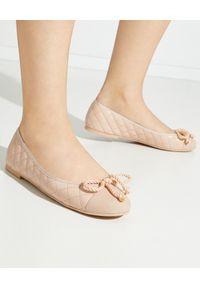 PRETTY BALLERINAS - Pikowane baleriny ze skóry Rosario. Nosek buta: okrągły. Kolor: różowy, wielokolorowy, fioletowy. Materiał: skóra. Sezon: lato. Styl: klasyczny