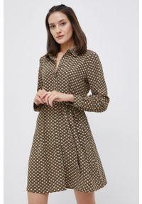 Jacqueline de Yong - Sukienka. Kolor: zielony. Materiał: tkanina. Długość rękawa: długi rękaw. Typ sukienki: rozkloszowane