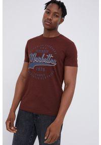PRODUKT by Jack & Jones - Produkt by Jack & Jones - T-shirt bawełniany. Okazja: na co dzień. Kolor: brązowy. Materiał: bawełna. Wzór: nadruk. Styl: casual