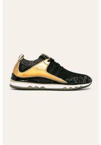 Czarne buty sportowe Armani Exchange na obcasie, na sznurówki