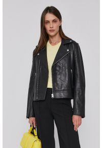 Calvin Klein - Ramoneska skórzana. Okazja: na co dzień. Kolor: czarny. Materiał: skóra. Styl: casual
