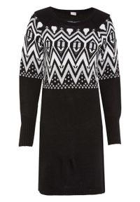 Sukienka dzianinowa w norweski wzór bonprix czarno-biel wełny w norweski wzór. Kolor: czarny. Materiał: dzianina, materiał, akryl, wełna, włókno, poliester
