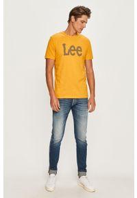 Żółty t-shirt Lee na co dzień, z nadrukiem