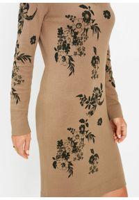 Brązowa sukienka bonprix w kwiaty, dopasowana