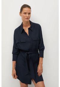 Niebieska sukienka mango prosta, z długim rękawem, casualowa, mini