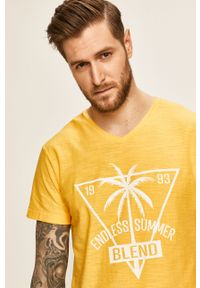 Żółty t-shirt Blend z nadrukiem