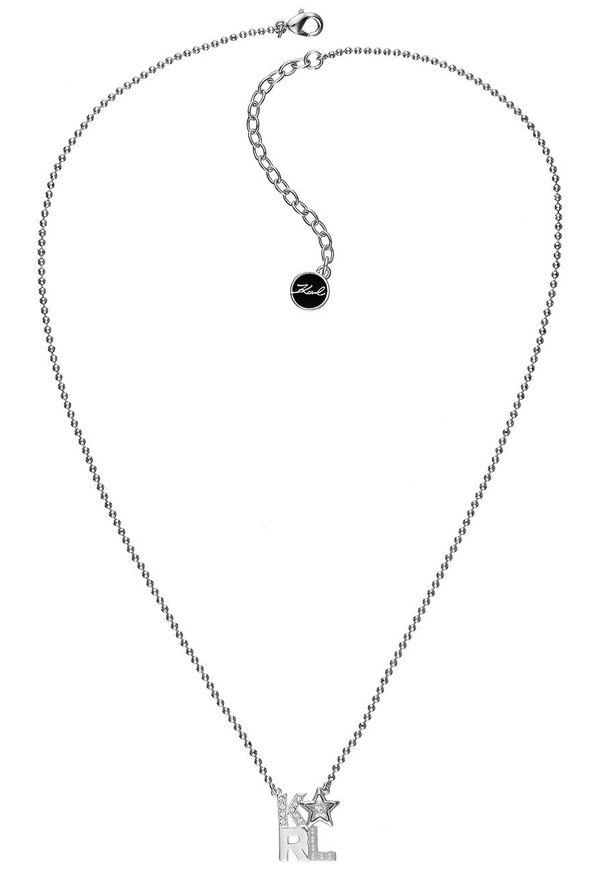 Srebrny naszyjnik Karl Lagerfeld z aplikacjami, z mosiądzu, z kryształem