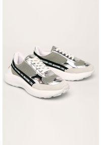 Srebrne buty sportowe Love Moschino na obcasie, na sznurówki, z cholewką