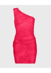HERVE LEGER - Różowa sukienka z marszczeniami. Kolor: różowy, wielokolorowy, fioletowy. Materiał: jersey. Typ sukienki: asymetryczne