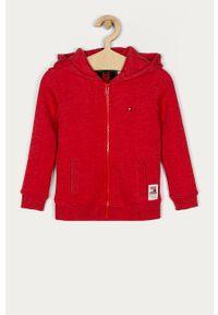 Czerwona bluza rozpinana TOMMY HILFIGER casualowa, na co dzień, z kapturem