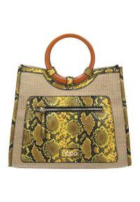 Torebka koszyk ze skórą węża Nobo żółta I1930. Kolor: żółty. Materiał: skórzane. Rodzaj torebki: przez ramię
