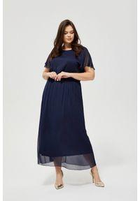 MOODO - Szyfonowa sukienka z wiązaniem. Materiał: szyfon. Wzór: gładki. Styl: boho, elegancki